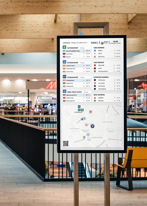 Mobility Info Vertikaler Bildschrim in Einkaufszentrum
