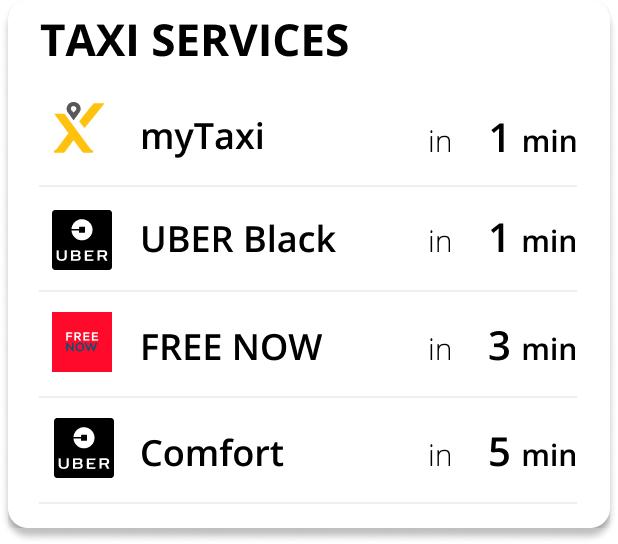 Taxi Service Dashbord Abfahrtszeiten