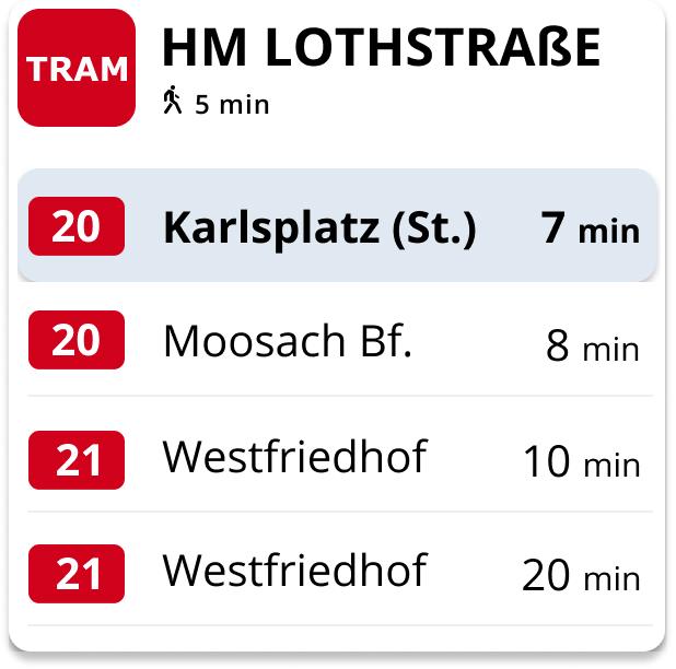 Tram Dashbord Abfahrtszeiten