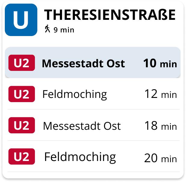 U-Bahn Dashbord Abfahrtszeiten