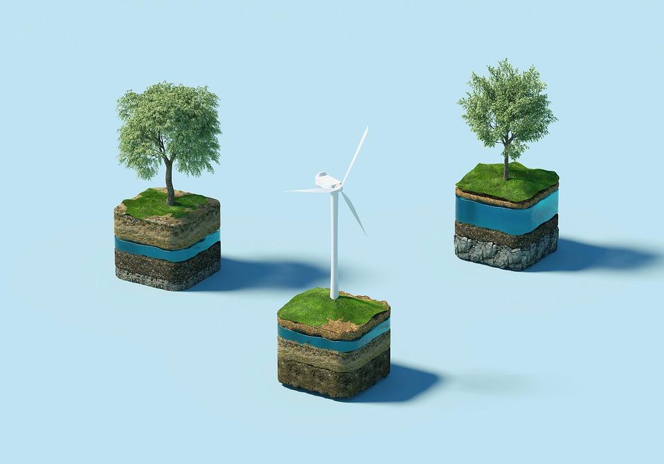windmühle, bäume