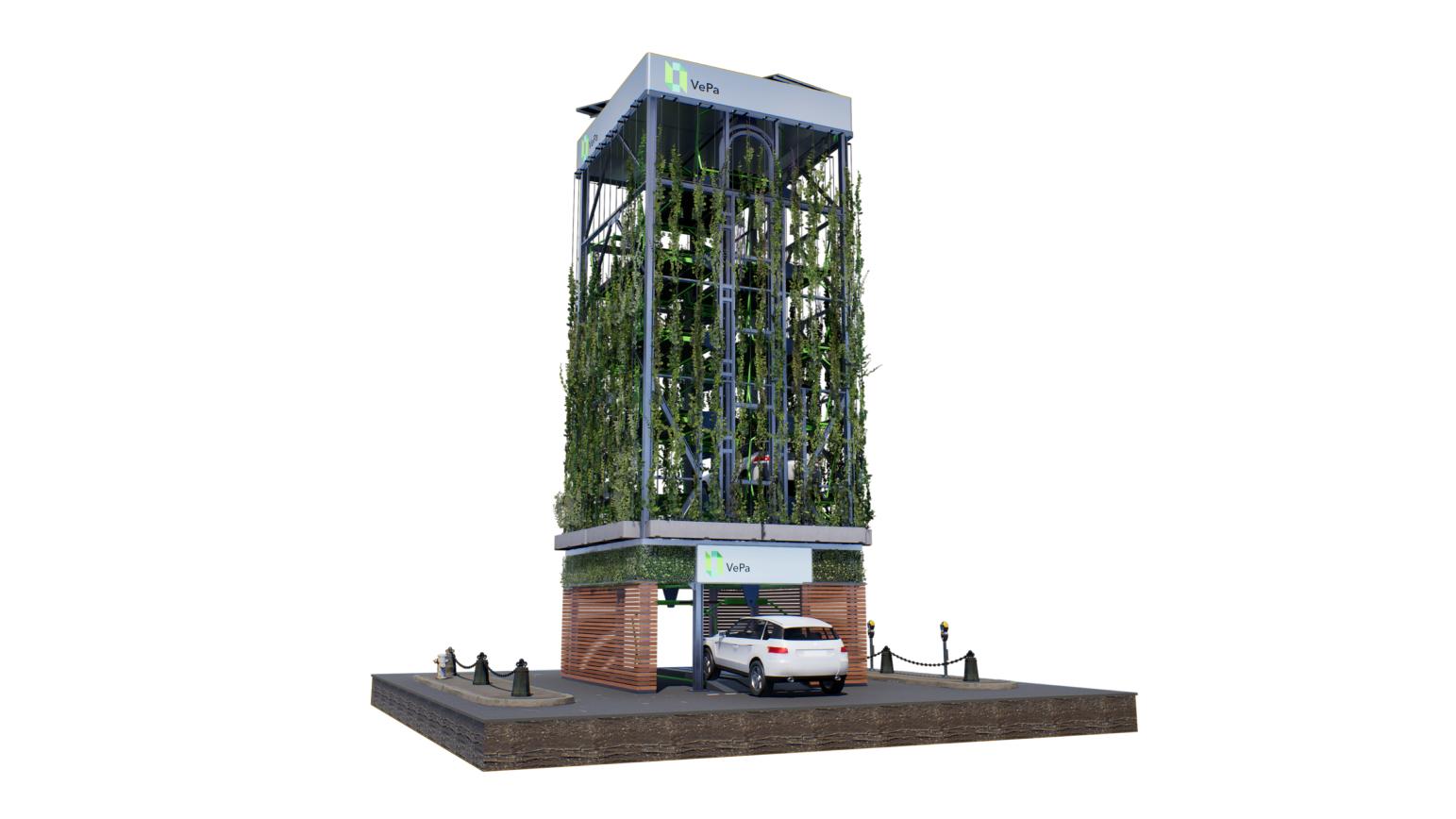 Vepa Parkgarge mit Pflanzen an der Aussenwand